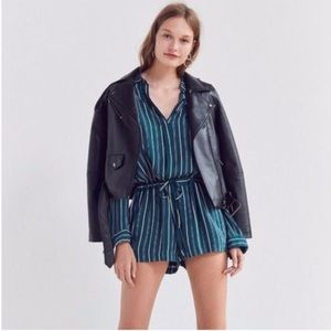 Anthro Silence + Noise long sleeve stripe romper